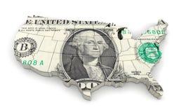 Kaart van de V.S. met dollar royalty-vrije illustratie