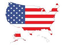 Kaart van de V.S. met vlag Stock Afbeeldingen