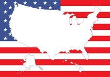 Kaart van de V.S. met vlag vector illustratie