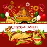 Kaart van de de vakantiegroet van Cinco de Mayo de Mexicaanse