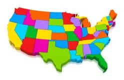 Kaart van de Verenigde Staten van Amerika Stock Fotografie
