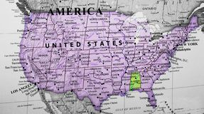 Kaart van de Verenigde Staten van Amerika die de staat van Alabama benadrukken royalty-vrije stock foto