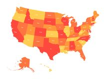 Kaart van de Verenigde Staten van Amerika, de V.S., in vier schaduwen van sinaasappel en rood met de witte etiketten van de staat Royalty-vrije Stock Afbeelding