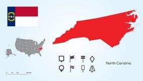 Kaart van de Verenigde Staten met de Geselecteerde Staat van het Noorden Carolina And North Carolina Flag met Merktekeninzameling vector illustratie