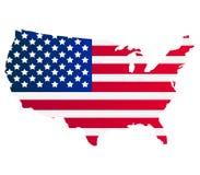 Kaart van de Verenigde Staten met vlag Royalty-vrije Stock Afbeeldingen