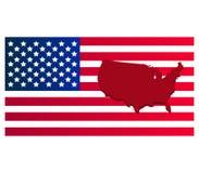 Kaart van de Verenigde Staten met vlag Royalty-vrije Stock Afbeelding