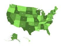 Kaart van de Verenigde Staten van Amerika, de V.S., in vier schaduwen van groen met de witte etiketten van de staat Eenvoudige vl Royalty-vrije Stock Foto