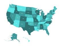 Kaart van de Verenigde Staten van Amerika, de V.S., in vier schaduwen van turkoois blauw met de witte etiketten van de staat Eenv Royalty-vrije Stock Foto's