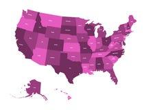 Kaart van de Verenigde Staten van Amerika, de V.S., in vier schaduwen van viooltje met de witte etiketten van de staat Eenvoudige Stock Afbeelding