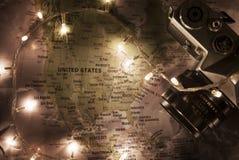 Kaart van de Verenigde Staten van Amerika, reisconcept Royalty-vrije Stock Afbeelding