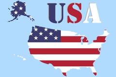 Kaart van de Verenigde Staten in de vorm van een vlag Het grondgebied van de V.S. Royalty-vrije Stock Afbeeldingen