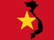 Kaart van de Vietnamese vlag van Vietnam en Royalty-vrije Stock Fotografie