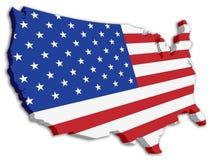 Kaart van de Vlag van de Staat van de V.S. van de kleur 3D Stock Afbeelding