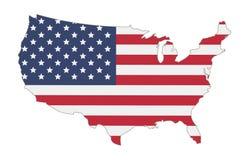 Kaart van de vlag van de Verenigde Staten van Amerika stock illustratie