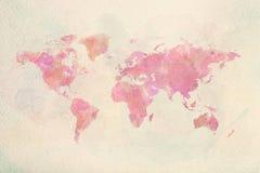 Kaart van de waterverf de uitstekende wereld in roze kleuren stock afbeelding