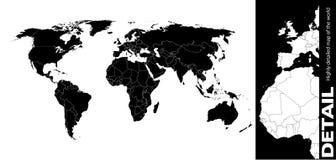 Kaart van de wereld Stock Foto's