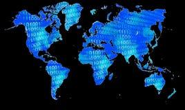 Kaart van de wereld in binaire code Royalty-vrije Stock Foto's