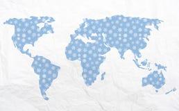 Kaart van de wereld in de winter - voor Kerstmis Stock Foto