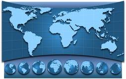 Kaart van de wereld en de bollen Stock Afbeelding