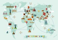 Kaart van de Wereld en Reispictogrammen Stock Fotografie