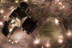 Kaart van de wereld, het concept van reisaustralië Stock Foto
