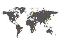 Kaart van de wereld met aandachtspunten Stock Afbeeldingen