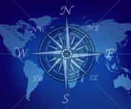 Kaart van de wereld met kompas Royalty-vrije Stock Afbeeldingen