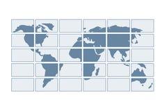 Kaart van de wereld op de transparante schermen Royalty-vrije Stock Foto