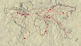 Kaart van de wereld op oud document met vlak geanimeerde retro vliegtuigen stock illustratie