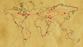 Kaart van de wereld op oud document met vlak geanimeerde retro vliegtuigen vector illustratie