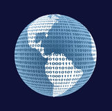 Kaart van de wereld van een binaire code vector illustratie