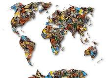 Kaart van de wereld van vlinders Stock Afbeelding
