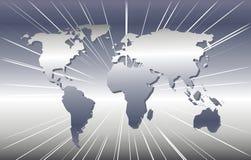 Kaart van de Wereld in Zilver   Stock Foto's