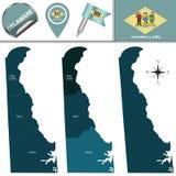 Kaart van Delaware met Gebieden royalty-vrije illustratie