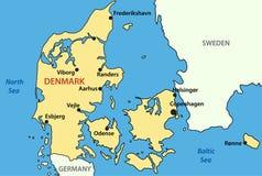 Kaart van Denemarken Stock Afbeeldingen