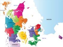Kaart van Denemarken vector illustratie