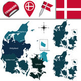 Kaart van Denemarken met genoemde gebieden Stock Foto's