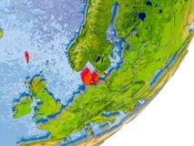 Kaart van Denemarken ter wereld Royalty-vrije Stock Afbeeldingen