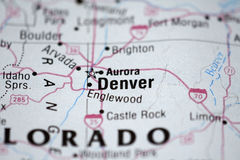 Kaart van Denver Stock Foto
