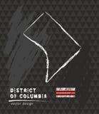 Kaart van District van Colombia, de vectorillustratie van de Krijtschets royalty-vrije illustratie