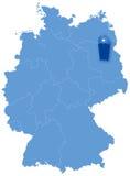 Kaart van Duitsland waar Berlijn wordt teruggetrokken Stock Afbeelding