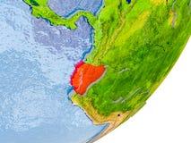 Kaart van Ecuador ter wereld Stock Foto's