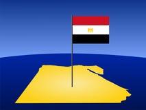 Kaart van Egypte met vlag royalty-vrije illustratie