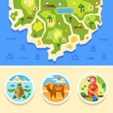 Kaart van eiland, oceaan met dierenemblemen Stock Afbeelding