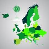 Kaart van Europa Stock Afbeelding