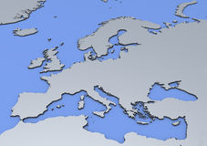 Kaart van Europa Stock Foto's