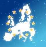 Kaart van Europa in de hemel wordt geïsoleerd die stock foto