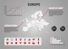 Kaart van Europa - infographic illustratie met grafieken en nuttige pictogrammen Stock Foto's