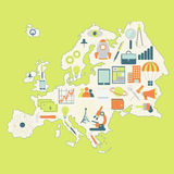 Kaart van Europa met technologiepictogrammen Royalty-vrije Stock Foto's