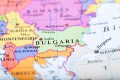 Kaart van Europa op Bulgarije wordt gecentreerd dat stock afbeeldingen